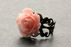 Peachy Pink Rose Ring. Peach Pink Flower by StumblingOnSainthood