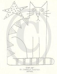 Estrella del gato bordado ePattern - Castaño Junction