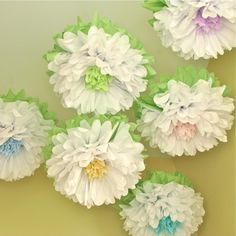 Whitewashed Wonderland 7 Giant Tissue Paper Pom Flowers, hang/wall flower, wedding, shower, nursery, party decor, Party Blooms by Whimsy Pie. via Etsy.