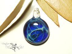 Glass Pendant Little Blue Universe Pendant by CreativeFlowGlass #glasspendant #nebula #space #cosmos #glassart #flameworked #creative #universe #freeshipping #borosilicate