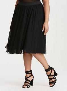 Tulle Mesh Midi SkirtTulle Mesh Midi Skirt, DEEP BLACK