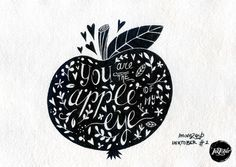 #INKtober day 2 Apple of my eye  Original artwork ink on handmade by movezerb