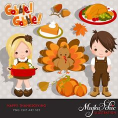 Happy Thanksgiving Clipart Instant Download Thanksgiving Graphics