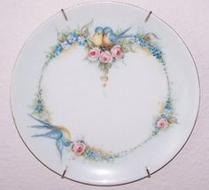 Bird Plate - Bavarian Plate hand painted in the late 1800's.