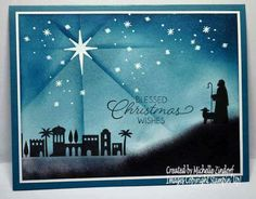 Stampin' Up! Night in Bethlehem Christmas card ~ another wow by Michelle Zindorf Christmas Cards 2017, Religious Christmas Cards, Christmas Night, Stampin Up Christmas, Christmas Nativity, Christmas Wishes, Xmas Cards, Handmade Christmas, Holiday Cards