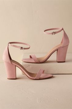 Cute pink strappy heels for bridesmaids