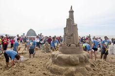 Who can build something like this?! www.hallmarkinns.com  #HaystackRock #Sandcastle #Ocean #Travel #art