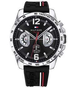 Tommy Hilfiger Decker Stainless Steel Chronograph Dial Black Rubber Strap Watch 1791473 from House of Watches. Hugo Boss, Tommy Hilfiger Watches, Sporty Watch, Bracelet Silicone, Swatch, Hand Accessories, Swiss Army Watches, Unisex, Stainless Steel Case