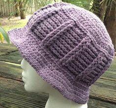 Crocheted Hat Beanie Ladies Plum Lavender Handmade Acrylic #Handmade