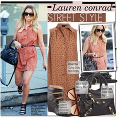 Lauren Conrad by bohedgian on Polyvore featuring moda, Adrianna Papell, Christian Louboutin, Balenciaga, Madewell, River Island, Lauren Conrad, PolkaDots, shirtdress and laurenconrad
