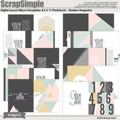 ScrapSimple Digital Layout Album: Photobook 8.5X11 - Modern Magazine