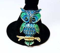 Lisner Enamel Owl Brooch  Mod Blue & Green Bird by thejewelseeker