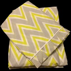 Lime Zigzag (100% Cotton King size Flat Bed Sheet set with 2 sided frills and 2 Pillow cases with 4 sided frills). by raziascloset on Opensky