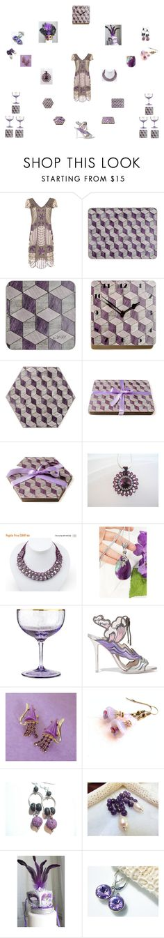 Lavender Mauve Gatsby Party by einder on Polyvore featuring Sophia Webster, Cadeau, Waterford and Masquerade