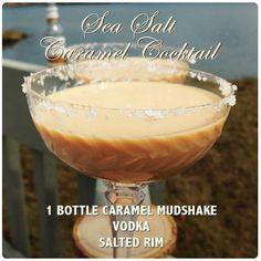 Sea Salt Caramel Cocktail- Vodka Mudshake Recipe Sea Salt Caramel, Vodka Cocktails, Margarita, Tableware, Recipes, Vodka Based Cocktails, Dinnerware, Dishes, Rezepte