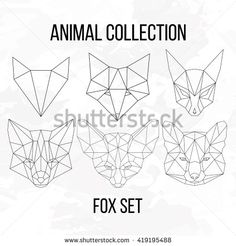 Set of geometric fox head isolated on white background vintage vector design…