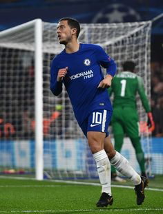 Eden Hazard of Chelsea celebrates scoring his sides second goal during the UEFA Champions League group C match between Chelsea FC and AS Roma at Stamford Bridge on October 18, 2017 in London, United Kingdom.