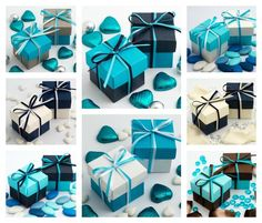 Luxury DIY Two Tone Box & Lids Classy Blue Wedding Favour Party Gift Boxes