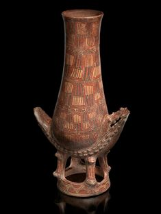 Greater Nicoya crocodile jar, AD 1000–1350  Filadelfia, Guanacaste Province, Costa Rica Pottery, clay slip, paint