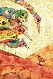 littleg: (via Birds and Birdcage Love and Lantern Love / Hidden In France: Gustavo Aimar) Bird Illustration, Illustrations, Mix Media, Fantastic Art, Whimsical Art, Bird Art, Love Art, Oeuvre D'art, Pet Birds
