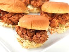Fried Chicken Sandwiches on Martin's Potato Rolls with Cole Slaw | Serious Eats