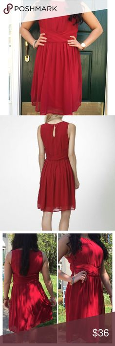 Red Chiffon Sleeveless Cocktail Dress Stunning red chiffon cocktail dress featuring keyhole back closure and side zipper. The dress is fully lined. Made of 100% polyester. Perfect for date night or ladies night out! Striped  The sizing is more of junior fit. Moon Collection Dresses Midi