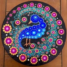 Peacock Painted Stepping Stone by Pixie-Lyrique.deviantart.com on @DeviantArt