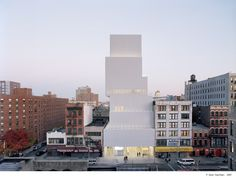 New Museum of Contemporary Art  The New Museum of Contemporary art is an urban infill in Downtown Manhattan.  Given such a dense urban setting, stacking museum spaces might easily have led to an introverted mass, but by shifting the volumes in relat