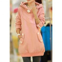Ladylike Style Long Sleeves Button Decoration Hooded Solid Color Coat For Women
