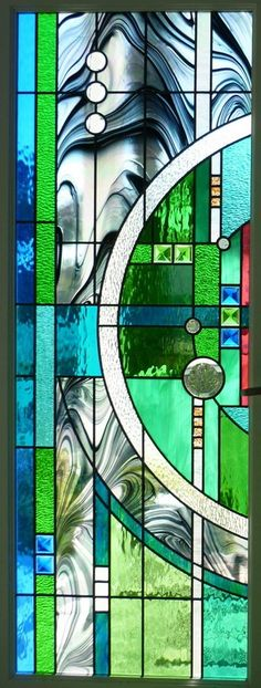Colorful Stained Glass of a double door set Combine Frank Lloyd Wright with some interesting piecing. Stained Glass Designs, Stained Glass Projects, Stained Glass Patterns, Stained Glass Art, Stained Glass Windows, Mosaic Glass, Contemporary Stained Glass Panels, Lampe Art Deco, Leaded Glass