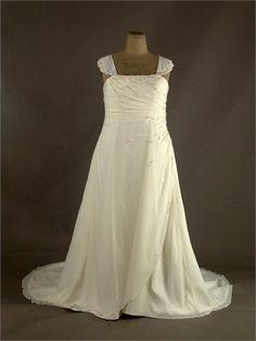 Plus Size Sleeveless Beaded Lace Up With Short Train Chiffon Wedding Dress WD1323 www.tidedresses.co.uk $240.0000