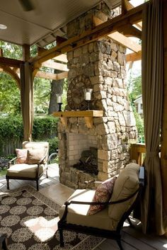 Outdoor fireplace and a beautiful tile floor
