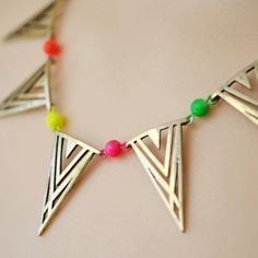neon necklace geometric triangle banner Deco by ColorblockShop, $28.00