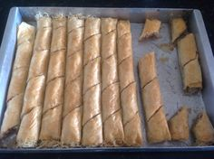 Filo pastry, kataifi pastry and nut rolls in syrup