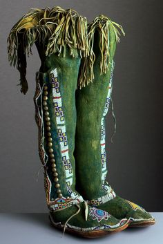gorgeous Kiowa high top moccasins made around 1890-1900 using leather, rawhide and glassbeads. Just stunning!