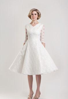Three Quarter Sleeves Knee Length Lace V-neck Wedding Dress With 1950s Style Skirt #wedding_dresses_for_older_women #cheap_lace_wedding_dresses #short_beach_wedding_dresses