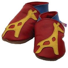 ba0cf5e4bd5c4 chaussons bebe starchild chaussons cuir girafe rouge starchild -  leather