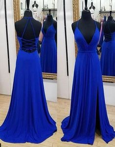 V+Neck+Royal+Blue+Chiffon+Prom+Dress    Made+to+order,+can+be+made+with+any+change.    Pls+order+at+least+2+months+earlier+before+your+event+day.    Fabric:+Chiffon  Shown+Color:+Royal+Blue  Available+Color:+As+Picture+or+Custom+Color(pls+leave+the+color+or+color+code+in+the+order+note+section+si...
