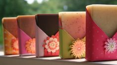 Soaps by Nikki Hoefer - Lovely handmade soap packaging with a unique shape