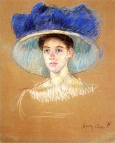 Woman's  Head with Large Hat, Mary Cassatt, pastel on paper, 71.2x57.8 cm, 1909.