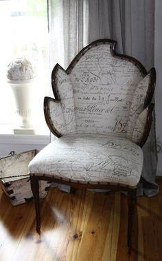 Deco Chair reupholstered with French Writing Fabric