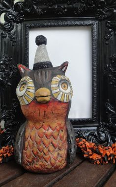 Halloween Paper Mache Owl Sculpture