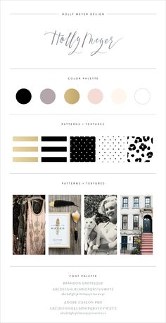 Love this brand style guide for Holly Meyer Design!