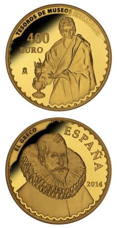 N♡T.400 euro: Treasures of Spanish Museums II .Country:Spain  Mintage year:2014 Face value:400 euro Diameter:38.00 mm Weight:27.00 g Alloy:Gold Quality:Proof