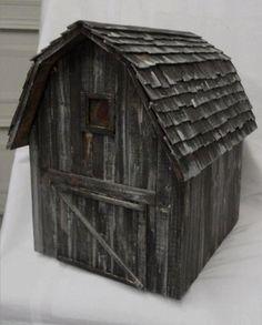 Barn birdhouse rustic barn old barn folk art by LynxCreekDesigns, $99.99