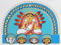 Goddess Durga with Her Children - Folk Art Paintings (Madhubani Folk Art on Paper - Unframed) Durga Maa Paintings, Durga Painting, Indian Art Paintings, Madhubani Art, Madhubani Painting, Jamini Roy, Bengali Art, Zentangle, Indian Folk Art