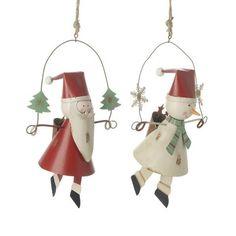 Metal Hanging Santa & Snowman
