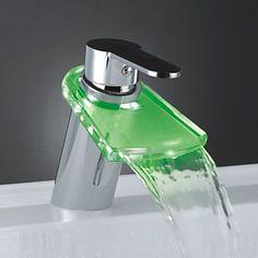 Color Changing Glass LED Water Bathroom Basin Sink Faucet (Chrome Finish) ,Torneira Para De Banheiro #Affiliate