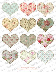 Shabby Chic Hearts Digital Collage Sheet Tags by LuluDesignArt
