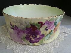 Gorgeous ELITE LIMOGES France Hand Painted Pansies Gold Centerpiece Huge BOWL